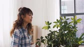dona de casa : happy asian woman cleaning houseplant at home