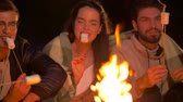 길게 나부 끼다 : friends roasting marshmallow on fire at night camp 무비클립