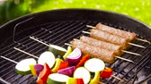 ズッキーニ : barbecue kebab meat and vegetables on grill