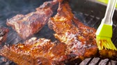 borla : barbecue meat roasting on brazier grill outdoors