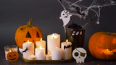 abóbora : pumpkins, candles and halloween decorations