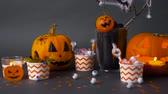 globo ocular : pumpkins, candies and halloween decorations