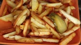 meal : Fried potatoes with pickled cucumber and dill in 18 seconds Stock Footage