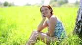meditation : Happy young woman in a peaceful and happy feelings contemplating on nature. Stock Footage
