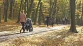 Mother with a stroller walking in autumn day. people walking in autumn park on sunny fall day. Slow motion