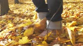 background : Closeup of women shoe treads on autumn forest footpath. Slow motion. Stock Footage