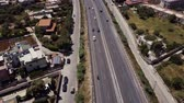 palerme : Aerial view of the Sicilia, Italy. Road with cars. Sea Coast Mountains Vidéos Libres De Droits