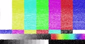 pixellated : abstract realistic screen glitch flickering, analog vintage TV signal with bad interference and color bars, static noise background, overlay ready