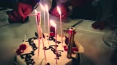 yazılı : burning sparkler on a birthday cake and with happy birthday written. happy birthday sparkler burning like a firework, happy birthday Stok Video
