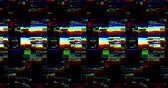 defeito : abstract multi color realistic screen glitch flickering, analog vintage TV signal with bad interference and color bars, static noise background, overlay
