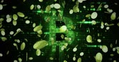 gradient : virtual gold bitcoins symbol crypto digital currency explosion from bottom on green