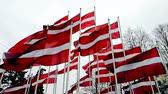 Latvian flags attached to a pole waving in the wind, the skyline of Riga, Latvia, concept of travel in