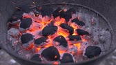 burn : Burning coal. Coal and fire slow motion