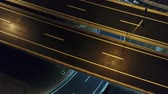 вид : aerial view of highway empty road city street in night