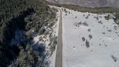 iszapos : aerial footage of road through winter forest Stock mozgókép