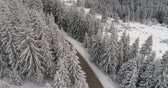 italy : touring ski tracks in snow Stock Footage