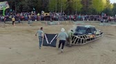 sıkışmış : BARANOVICHI, BELARUS - APRIL 25, 2015: Auto derby battle. Stok Video
