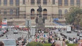 Československo : Prague, Czech Republic - August 5, 2018: Wenceslas square and National Museum in Prague, Czech Republic