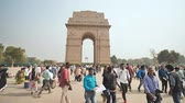 triumphal arch : New Delhi, India - November 28, 2018: People visit to India Gate.
