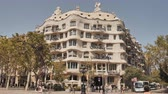 catalão : Barcelona, Spain - August 5, 2018: Barcelona architecture. One of the houses of Gaudi. Vídeos