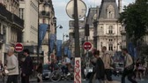 anêmona : People and traffic along the Rue de Rivoli in Paris Stock Footage