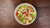 bowl : Stop motion footage of the process of eating salad Stock Footage