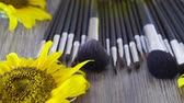 glamour make up : Cosmetic make-up product brushes on table next to sunflowers Stock Footage