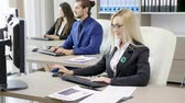 Team of corporate business persons working in the office. Business and finance Stock Footage