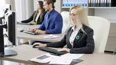 financial : Team of corporate business persons working in the office. Business and finance Stock Footage