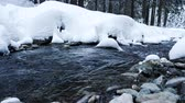 cam : Beautiful and scenic river in mountains in winter. Travel and adventure Stok Video