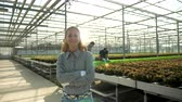 Portrait of female agronomist engineer smiling in a greenhouse with modern agriculture technology.