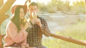 виноградник : Wine tasting in a beautiful sun flares at the sunset. Shot in 6K on cinema camera
