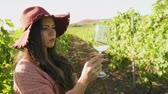 виноград : Caucasian woman in a vineyard looking at a glass of wine Стоковые видеозаписи