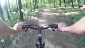 realizar : Mountain biking in a forest. POV Original point of View 1