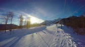The downhill skiing. Caucasian mountains. Ski resort. Sochi. Russia. Stock Footage