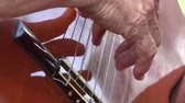 személy : Acoustic Guitar Strings Stock mozgókép