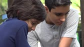 bağıl : Teen Hispanic Brothers and Friends Stok Video