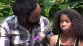 bağıl : Angry African Father and Daughter Stok Video
