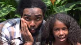 bağıl : African Father and Daughter Acting Silly Stok Video