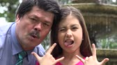 bağıl : Father and Daughter Acting Silly Stok Video