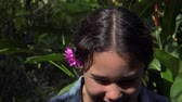 sixteen : Latin Girl Laughing in Nature Stock Footage