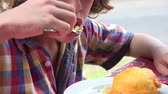 диеты : Young Boy Eating with Fork
