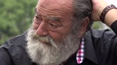 whiskers : Sad Old Bearded Man Stock Footage