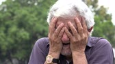 emocional : Sad Old Man Crying Stock Footage