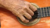 instrumenten : Hand Strumming Acoustic Guitar Stockvideo