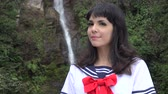 olhar : Pretty Young Female Cosplay Stock Footage