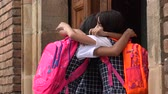 vasthouden : School Girls Goodbye Hug