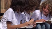 yazılı : Elementary School Boys Writing Stok Video