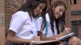 yazılı : Teen School Girls Writing Stok Video