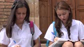 yazılı : Catholic School Girls Writing Stok Video